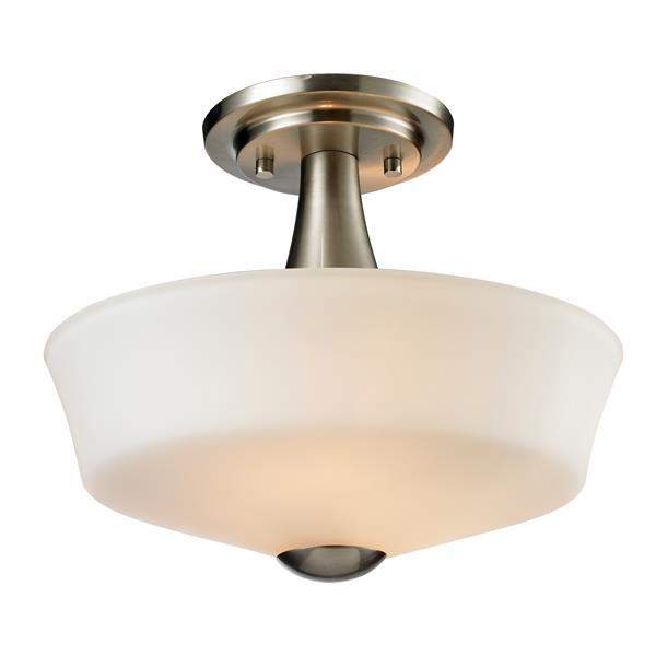 """Semi-plafonnier à 2 lumières Montego, 9,75"""", nickel"""