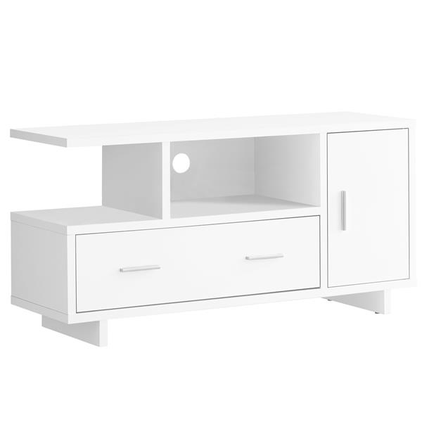 Monarch TV Stand with Storage - 47.25-in - Composite - White