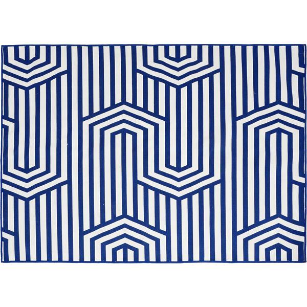 """Tapis d'extérieur Bluebell, 78,75"""", polyester, bleu/blanc"""