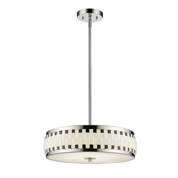 Luminaire suspendu Sevier DEL, chrome/noir/blanc , 16 po
