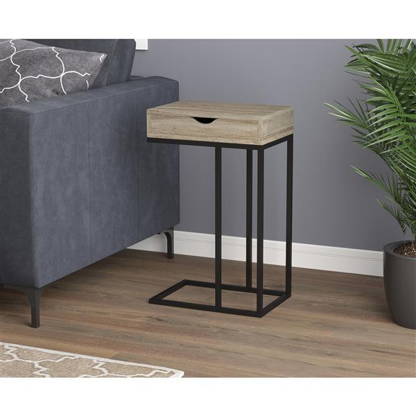 Table d'appoint forme en C, 1 tiroir,  taupe et métal noir