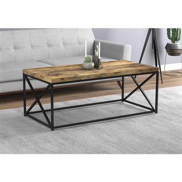 """Table de salon, bois brun récupéré, base métal noir, 44"""""""