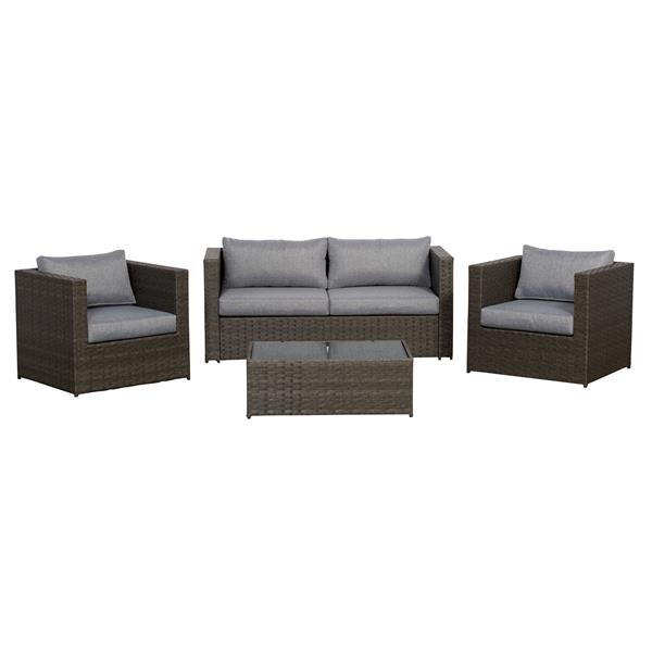 Think Patio Galena Club Chair Conversation Set - Grey - 4-piece