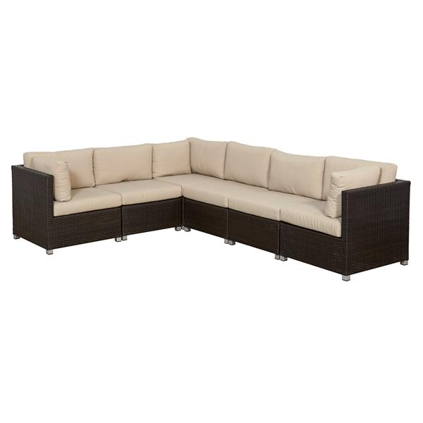 Think Patio Innesbrook Conversation Set with Cushions - Tan - 6-piece