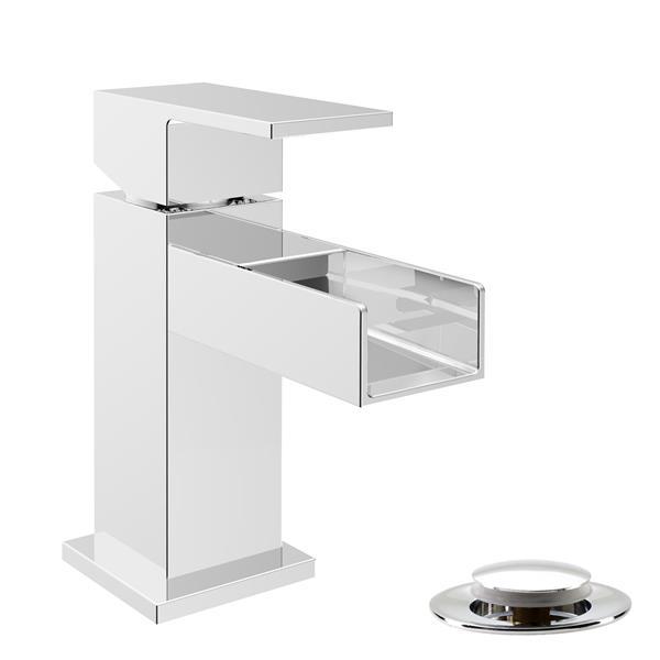 """Robinet pour lavabo de salle de bain, chrome poli, 5"""""""