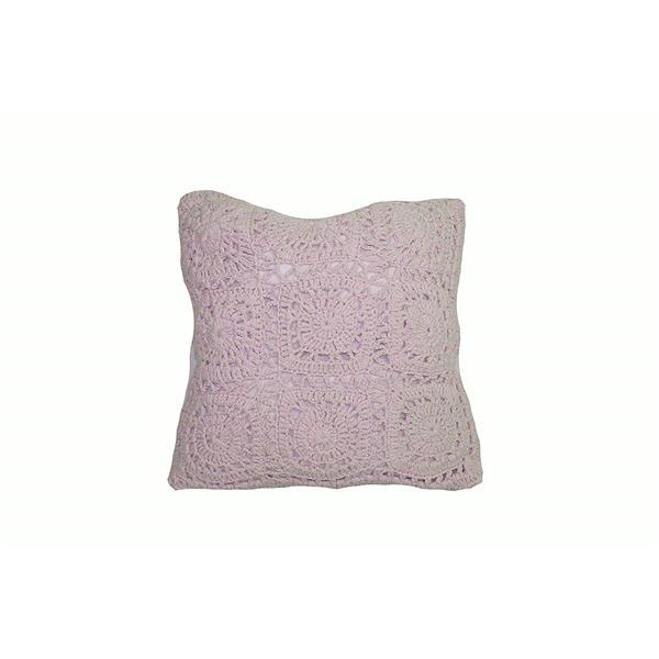 """Coussin décoratif «Crochet» en polyester, 18"""" x 18"""", rose"""