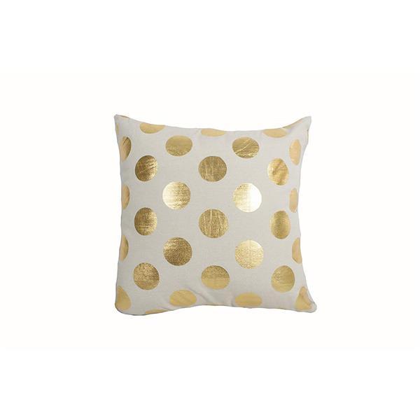 Coussin décoratif «Foil Dots», 18 po x 18 po, or
