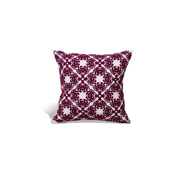 "Coussin décoratif marocain en polyester, 18"" x 18"", rose"