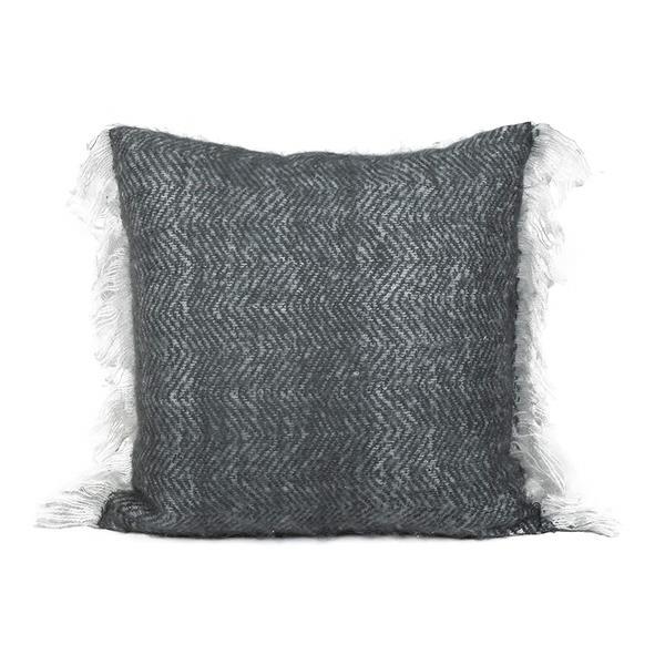 Coussin décoratif «Mohair», 20 po x 20 po, charbon
