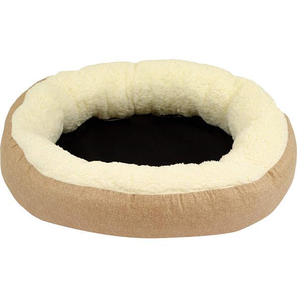 Lit de luxe ovale pour chien, 27 po x 22 po x 7 po, gris