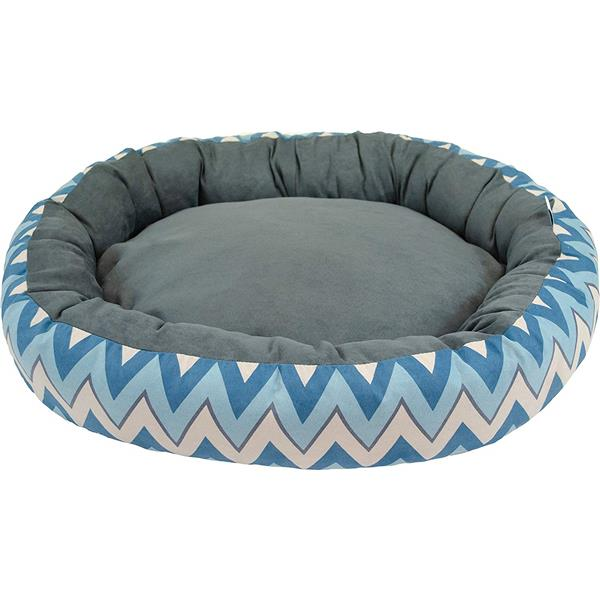 Lit de luxe ovale pour chien à motif de chevrons , 27 po x 22 po x 7 po, bleu