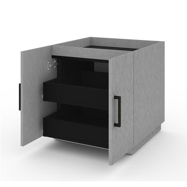 Ensemble cabinet empilable et 2 tiroirs Lincoln, gris argent