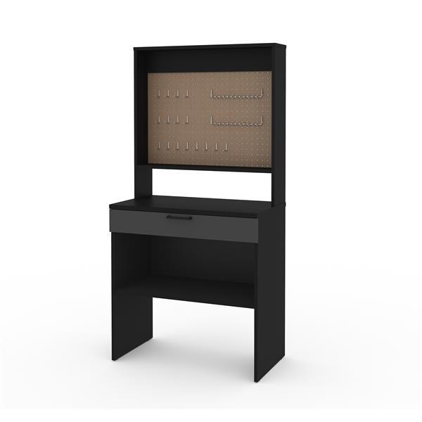 Bestar Lincoln 1-Drawer Workbench - Pegboard - Black