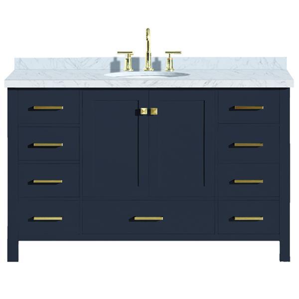 """Meuble-lavabo simple, évier ovale, 9 tiroirs, 55"""", bleu"""