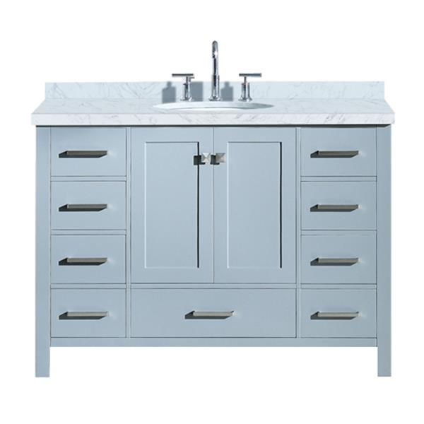 """Meuble-lavabo simple, évier ovale, 9 tiroirs, 49"""", gris"""