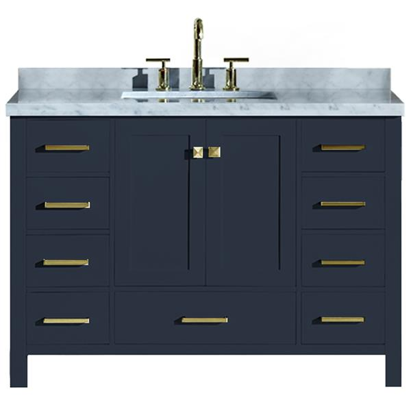 """Meuble-lavabo simple, évier rectangulaire, 49"""", bleu"""