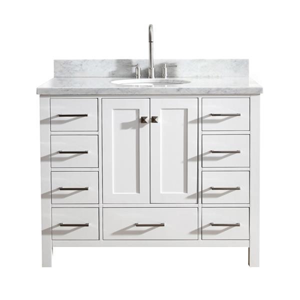 """Meuble-lavabo simple, évier ovale, 9 tiroirs, 43"""", blanc"""