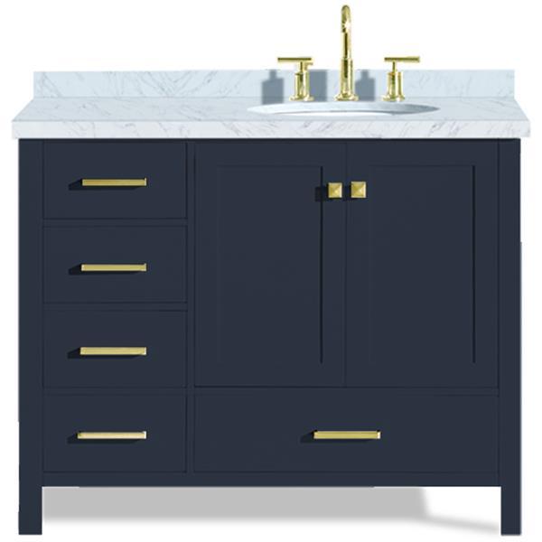 """Meuble-lavabo, évier ovale simple à droite, 43"""", bleu"""
