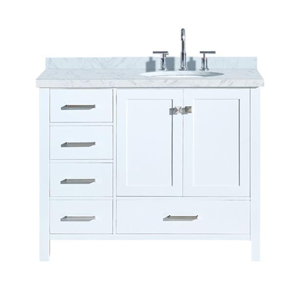 """Meuble-lavabo, évier ovale simple à droite, 43"""", blanc"""