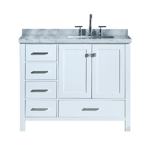 """Meuble-lavabo simple, évier à droite, 43"""", blanc"""