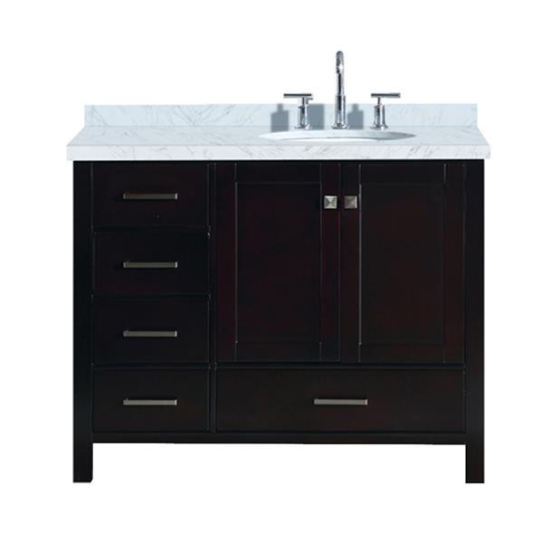 """Meuble-lavabo simple, évier ovale à droite, 43"""", espresso"""