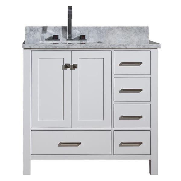 """Meuble-lavabo simple, évier à gauche, 37"""", blanc"""