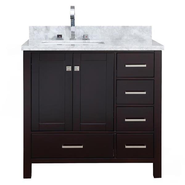 """Meuble-lavabo simple, évier à gauche, 37"""", espresso"""