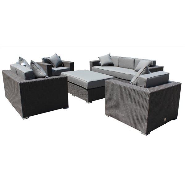 Ensemble de patio «Mirage», osier/aluminium, gris graphite