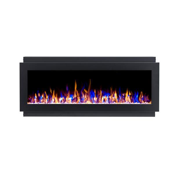 """Foyer électrique encastré à DEL Flamehaus(MD), 72"""", Noir"""