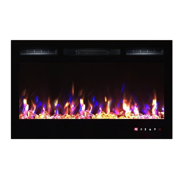 """Foyer électrique encastré à DEL Flamehaus(MD), 36"""", noir"""