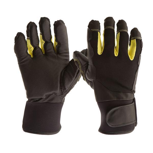 Gants de Mécanicien Antivibrations, noir/jaune, grand