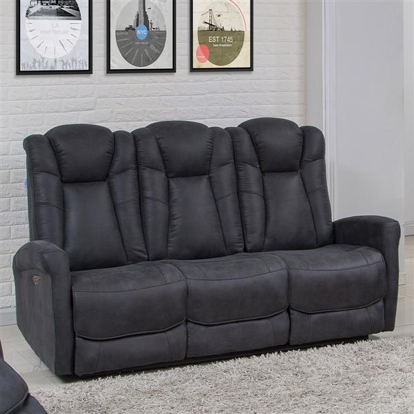Sofa 3 places inclinable électrique Limoge, gris