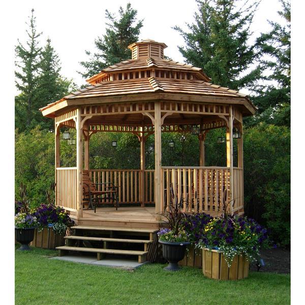 Pavillon de jardin octogonnal, avec marche, 14 pieds, cèdre