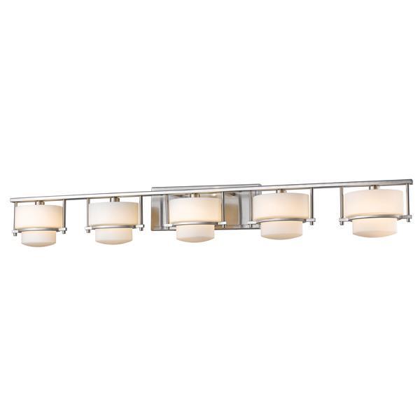 Applique pour salle de bain Porter,5 lumières, nickel brossé