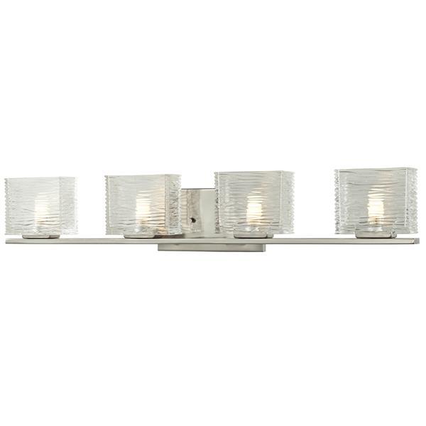Applique pour salle de bain Jaol, 4 lumières, nickel brossé