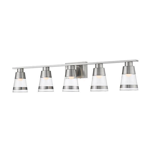 Applique pour salle de bain Ethos, 5 lumières, nickel brossé