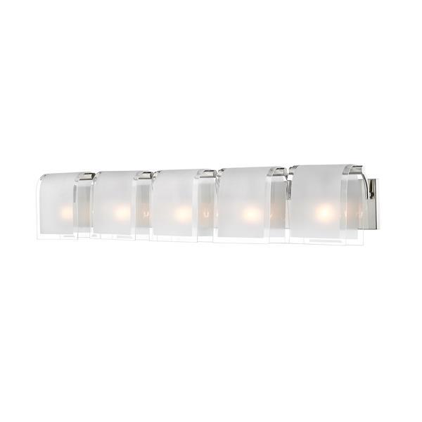 Applique pour salle de bain Zephyr,5 lumières, nickel brossé