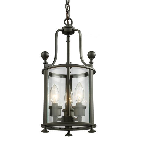 """Luminaire suspendu Wyndham, 3 lumières, 8,5"""", bronze"""