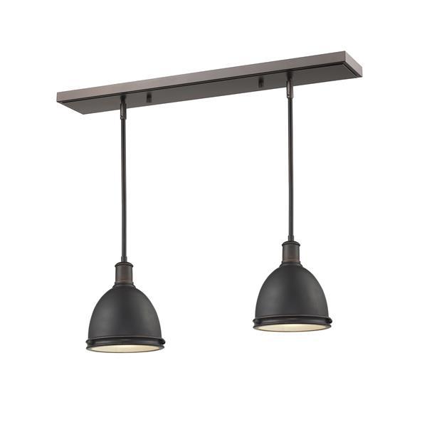 Luminaire de cuisine suspendu Mason, 2 lumières, bronze