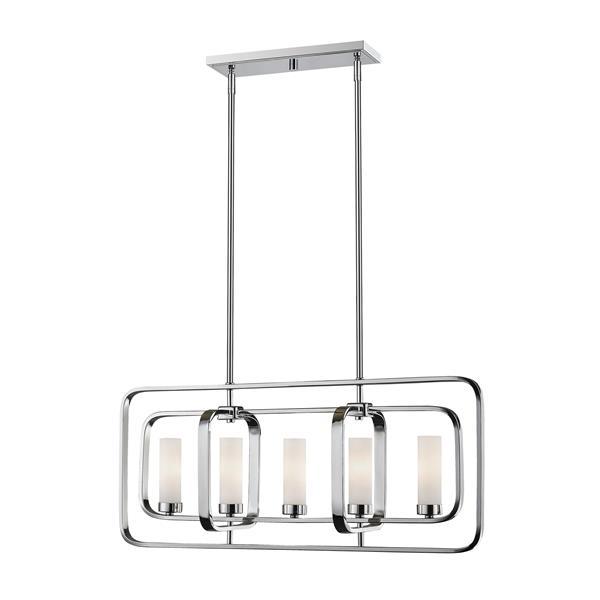 Luminaire de cuisine suspendu Aideen, 5 lumières, chrome