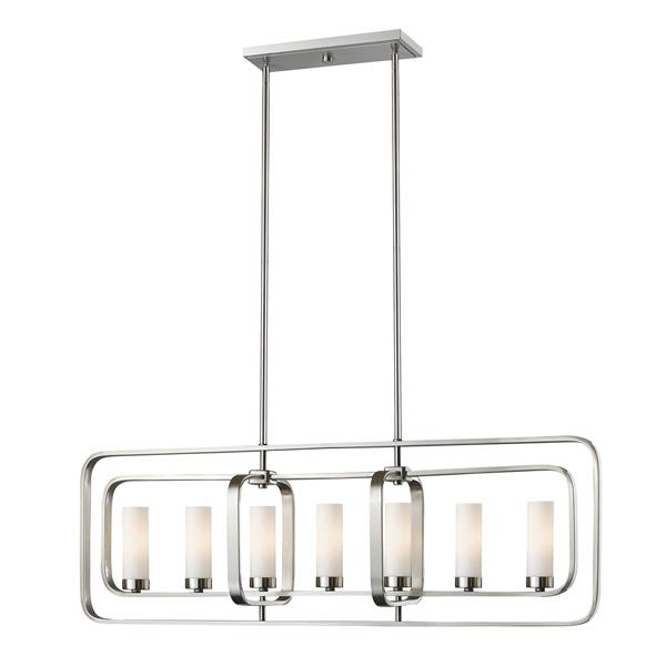 Luminaire de cuisine suspendu Aideen, 7 lumières, nickel