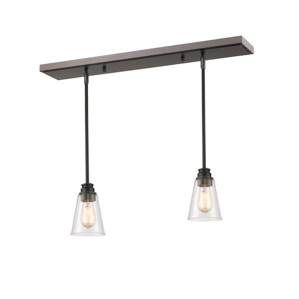 Luminaire de cuisine suspendu Annora, 2 lumières, bronze