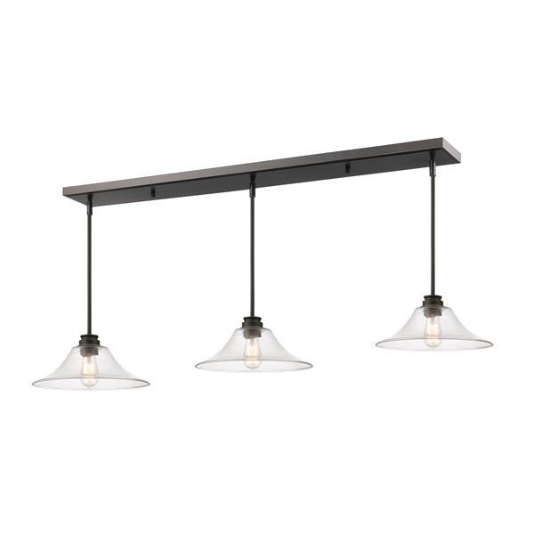Luminaire de cuisine suspendu Annora, 3 lumières, bronze