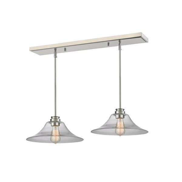 Luminaire de cuisine suspendu Annora, 2 lumières, nickel