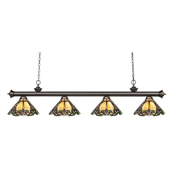 Luminaire de cuisine suspendu Riviera, 4 lumières, bronze