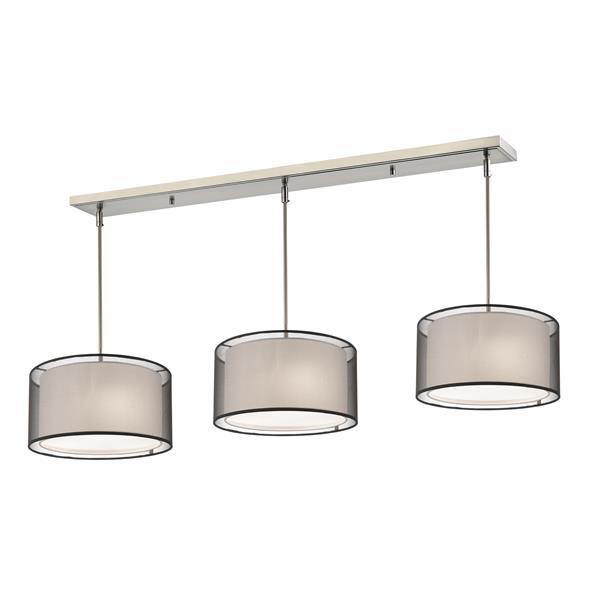 Luminaire de cuisine suspendu Sedona, 9 lumières, nickel