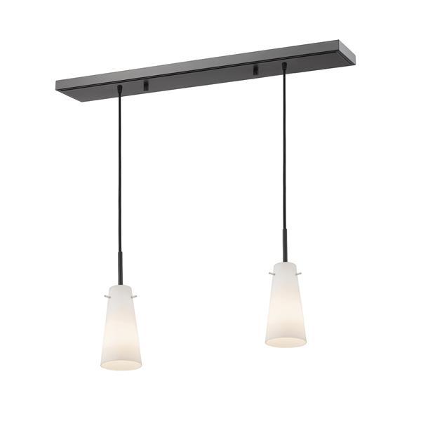 Luminaire de cuisine suspendu Monte, 2 lumières, bronze