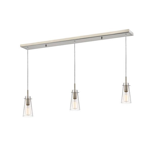 Luminaire de cuisine suspendu Monte, 3 lumières, nickel