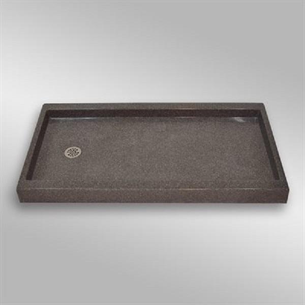 Base de douche avec drain de décalage à gauche, 60 po x 32 po, Mystique