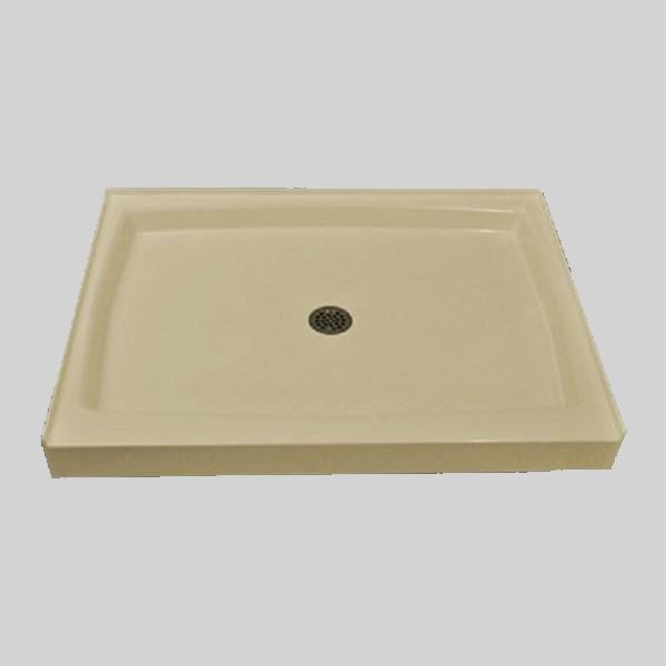 Base de douche unique avec drain central, 48 po x 36 po, os solide